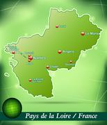 map of pays de la loire with abstract background in green - stock illustration