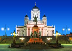 Senate Square at night in Helsinki, Finland Stock Photos