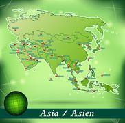 map of asia with abstract background in green - stock illustration