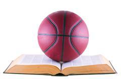 basketball over book - stock photo