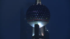 Oriental Pearl Tower at night Stock Footage