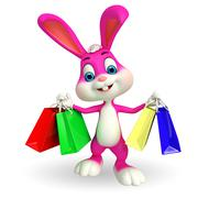 Cute easter bunny with shopping bags Stock Illustration