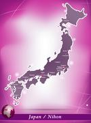 map of japan with abstract background in violet - stock illustration