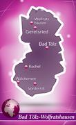 Stock Illustration of map of bad toelz wolfratshausen with abstract background in violet