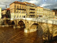 latin bridge on miljacko river, sarajevo, bosnia and herzegovina - stock photo
