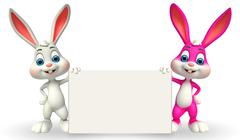 Cute easter bunny with sign - stock illustration