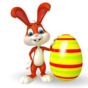 Cute easter bunny with big colorful egg Stock Illustration