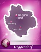 Stock Illustration of map of deggendorf with abstract background in violet