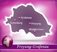 map of freyung grafenau with abstract background in violet - stock illustration