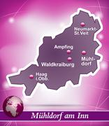 Map of muehldorf with abstract background in violet Stock Illustration