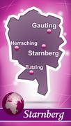 Stock Illustration of map of starnberg with abstract background in violet