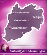 Stock Illustration of map of unterallgaeu memmingen with abstract background in violet