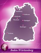 map of baden-wuerttemberg with abstract background in violet - stock illustration
