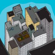 Crowded Tall Buildings Stock Illustration