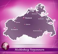 Map of mecklenburg-western pomerania with abstract background in violet Stock Illustration