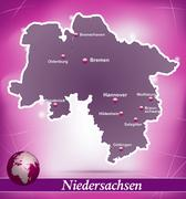 Stock Illustration of map of lower saxony with abstract background in violet