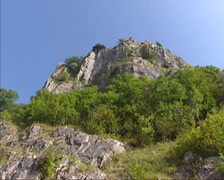 Cheddar Gorge - tilt down cliffs and dry limestone soils on south-facing slopes Stock Footage