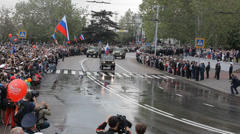 Parade in Sevastopol,Crimea with veterans and military forces on the Victory Day Stock Footage