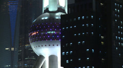 Track to reveal Oriental Pearl Tower, night Stock Footage