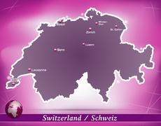 Stock Illustration of map of switzerland with abstract background in violet