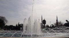 Slow motion, Sultan Ahmet Square Fountain Stock Footage