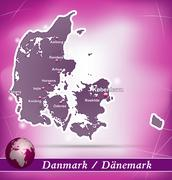 map of denmark with abstract background in violet - stock illustration