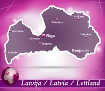 Map of latvia with abstract background in violet Stock Illustration