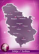 map of serbia with abstract background in violet - stock illustration