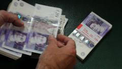Pounds Sterling Being Counted - stock footage