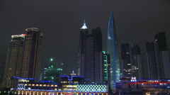 World Financial Centre, night - stock footage