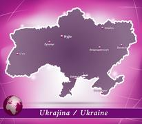 map of ukraine with abstract background in violet - stock illustration