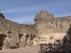 Aggstein Castle ruins Courtyard + pan ancient walls and viewpoint Stock Footage