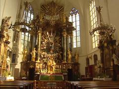 Pan interior church at Mauer bei Melk with its late gothic altar from 1509 Stock Footage