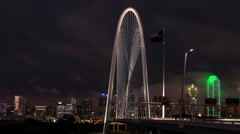 Dallas Skyline Night timelapse w/ Margaret Hunt Hill bridge Stock Footage