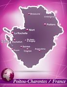 map of poitou-charentes with abstract background in violet - stock illustration