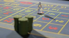 Appearing into Focus Casino Chips on the Table Stock Footage