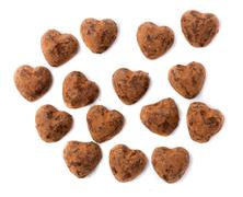 Chocolates truffles in bulk for valentine's day. Stock Photos