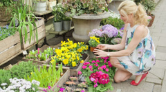 MLS A Woman browses the front of the Florist, crouched down on the street Stock Footage