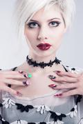 Young model with nail design Stock Photos