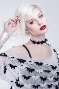 White look woman model - stock photo