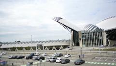 Modern futuristic train station in Lyon, France Stock Footage