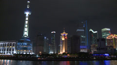 Tracking shot from river,  Oriental Pearl TV Tower Stock Footage