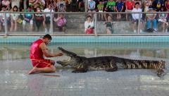 People at extreme crocodile show in Pattaya, Thailand Stock Footage