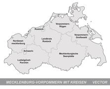 Stock Illustration of map of mecklenburg-western pomerania with borders in gray
