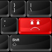 computer button angry face - stock illustration