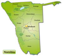 Map of namibia with borders in green Stock Illustration