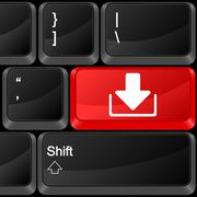 computer button download - stock illustration