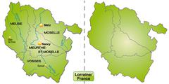 Stock Illustration of map of lorraine with borders in green