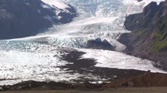 Tilt on glacier from terminal moraines to the top of the valley Stock Footage