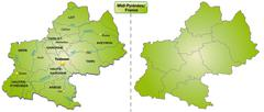 Stock Illustration of map of midi-pyrenees with borders in green